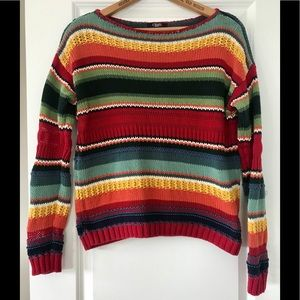 Chaps heavy knit Southwest design pullover sweater